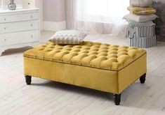 X-Large lift lid deep Buttoned Mustard plush velvet Bench / New Furniture, Furniture Making, Furniture Design, Mattress Manufacturers, Furniture Manufacturers, Ottoman Bed, One Bed, Bed Mattress, Interior Decorating