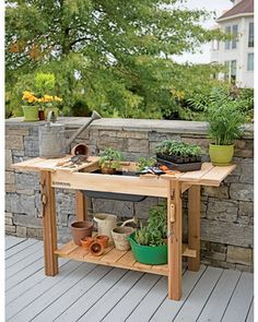Potting Bench - Cedar Potting Table with Soil Sink and Shelves Potting Bench With Sink, Outdoor Potting Bench, Potting Bench Plans, Potting Tables, Potting Sheds, Free Standing Pergola, Rustic Side Table, Pergola Plans, Pergola Kits