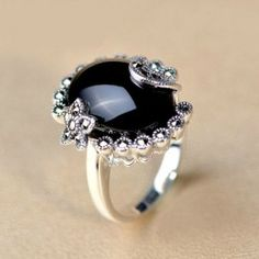 Women's 925 Sterling Silver Ring With Natural Black Agate - USD $89.95