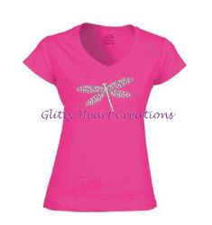 Dragonfly TShirt, Rhinestone Dragonfly Shirt, Womens Rhinestone Shirt, womens dragonfly shirt, ladies v neck shirt,  Crystal Shirt, by GlitzyHeartCreations on Etsy Rhinestone Shirts, Glitter Top, Photo Heart, Lady V, Cool Tees, Just For You, V Neck, Crystals, Heat Transfer