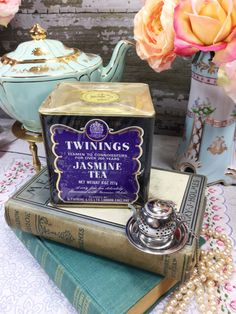 SEALED 8 oz. Vintage Twinings Jasmine Tea Tin, English Tea for Tea Time, Tea…