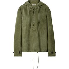 Saint Laurent Oversized lace-up suede hooded top ($3,990) ❤ liked on Polyvore featuring tops, army green, yves saint laurent, green top, oversized tops, green lace up top and lace tie up top