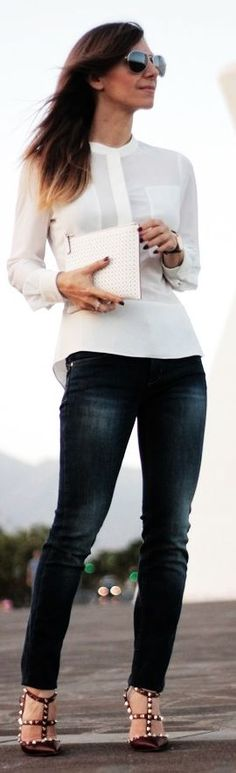 Karen Millen White Sheer Opaque Panel Popover Blouse~ classic casual