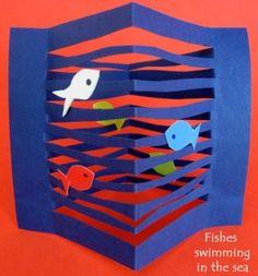 Toys from trash, kindergarten art, preschool crafts, paper fish, creation a Kindergarten Art, Preschool Crafts, Arte Elemental, Toys From Trash, Origami, Paper Art, Paper Crafts, Cut Paper, Paper Cutting
