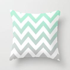Mint Grey Chevron Fade Throw Pillow, in loooove Mint Green Rooms, Mint Green Decor, Mint Rooms, Bedroom Green, White Bedroom, Girls Bedroom, Bedroom Decor, Bedroom Ideas, Paisley Bedroom