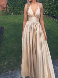 Spaghetti V-Neck Long A-line Prom Dresses, Champagne