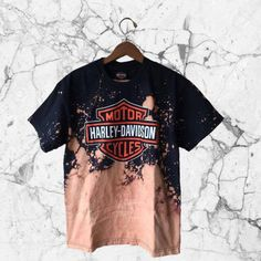MEDIUM Harley Davidson Logo Bleach Splattered Tee Hand-Bleached Biker... ($38) ❤ liked on Polyvore featuring tops, t-shirts, harley davidson t shirts, ripped t shirt, logo tees, cotton t shirts and ripped tee