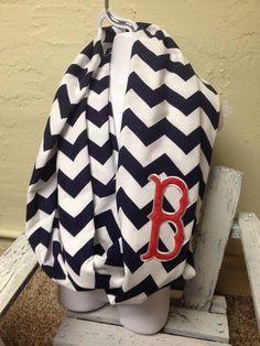 Navy Boston Red Sox Chevron Infinity Scarf on Etsy, $25.00