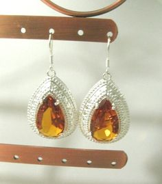 "Stunning Brazil Honey Citrine Crystal 925 Silver Earrings Jewelry 2""Lx 1""W    #Unbranded #Dangle#help #retweet #follow #repin http://stores.ebay.com/jewelryandthingsroseandersen5?_rdc=1"