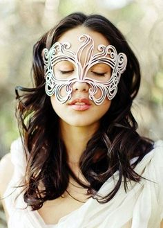Muse leather mask in white bridal. $39.00, via Etsy.