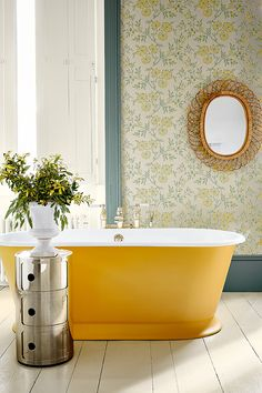 The Stitch in Highland Humber freestanding bath from Drummonds, Kartell Componibili storage unit Little Greene Paint, Little Greene Farbe, Peinture Little Greene, Yellow Baths, Yellow Bathrooms, Cheap Bathrooms, White Bathroom, Small Bathroom, Bathroom Wallpaper Yellow