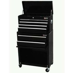 """13"""" Deep: Excel 24 in. Tool Chest and Roller Cabinet Combination, Black, 24.3 in. W x 13 in. D x 42.6 in. H, Each-TB220X-AB-Black at The Home Depot"""