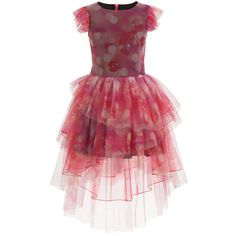 Girls pretty pink dress with bubble print by<span>Junior Gaultier, made in a soft tulle and a black cotton lining, making it comfortable against the skin. It has pretty gathered cap sleeves, a round neck and a concealed zip fastener on the back. The skirt is made from gathered tulle for extra volume and is cut in various lengths, with the back having a longer look.