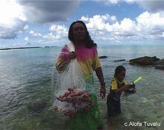 Tuvalu people catching food.