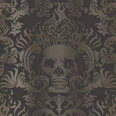 black damask wallpaper purple chaise - Google Search