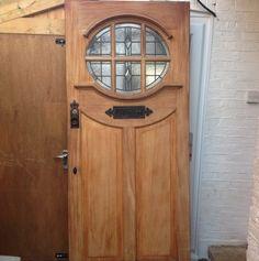 Front Door Idea, to make it a bit more rundown-looking. Traditional Front Doors, House Front, Windows And Doors, House Doors, Entrance Doors, Entry Doors, Porch Doors, Stained Glass Door, Old Doors
