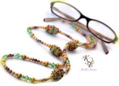 Eyeglass Necklace, Eyeglass Chain, Green Eyeglass Chain, Gold Pearls, Glass Lampwork Beads, Eyeglass Accessories, Eyeglass Necklace
