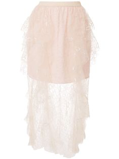 Light pink Floyd layered lace skirt from Alice McCALL featuring a high rise, an elasticated waistband, a pull-on style and a sheer tulle overlay.