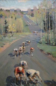 Кондратьев Леонид Александрович (Россия, 1928) «Весенние велогонки» 1963