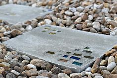 Super Easy DIY Modern Geometric Concrete Stepping Stones With Bling!