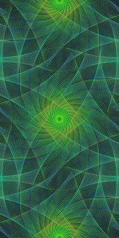 Dark green seamless fractal swirling pattern background