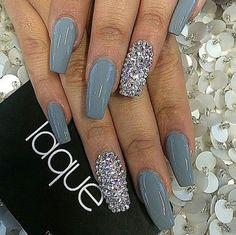 Laque Nail Bar | Grey Square Tip Acrylic Nails