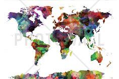 Watercolor World Map Multicolor - Schilderijen op canvas - Photowall