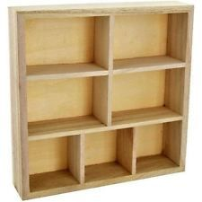 Wood Wooden Craft Storage Unit Floating Wall Cube Display Shelf 7 compartment