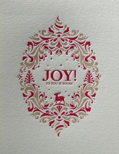 """Pretty """"Holiday Crest"""" letterpress card from Elum."""