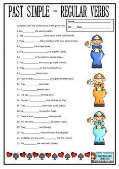Past tense: Regular verbs worksheet Teaching English Grammar, English Worksheets For Kids, English Lessons For Kids, English Activities, English Vocabulary, Verbs In English, Grammar Activities, Simple Past Tense Worksheet, English Past Tense