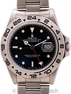 """Rolex Explorer II ref 16550 Patina'd Dial circa 1987 - Transitional model Rolex Explorer II ref 16550 serial # R circa 1987. This is the first generation sapphire crystal Explorer II with glossy black dial with lightly contrasting patina'd luminous indexes with matching hands and with scarce original """"square font"""" 16550 bezel.  A very nice condition example, with original heavy Oyster 78360 bracelet with 501 end pieces and deployment clasp. Recently serviced and pressure tested. Guaranteed… Sport Watches, Watches For Men, Rolex Explorer Ii, Modern Watches, Rolex Models, Pre Owned Rolex, Vintage Rolex, Bracelet Sizes, Watch Brands"""