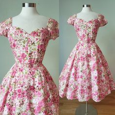 Rose Garden 1950s Jerry Gilden Spectator Cotton Dressy Dress / 1950s Dress / 50s Dress / Rose Peony Print / Small Medium Vintage Summer Dresses, Vintage 1950s Dresses, Vintage Tops, Vintage Outfits, Vintage Fashion, Dressy Dresses, Cotton Dresses, Cute Dresses, New Look Fashion