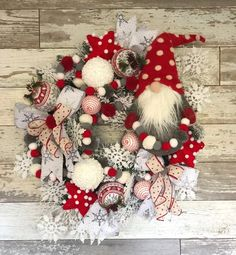 Gnome Christmas Wreath Christmas Wreath Gnome Wreath Snowflake Wreath Winter Wreath Red and Grey Wreath Whimsical Christmas Wreath Whimsical Christmas, Christmas Love, Christmas Crafts, Christmas Ornaments, Christmas Tables, Nordic Christmas, Reindeer Christmas, Modern Christmas, Deco Wreaths