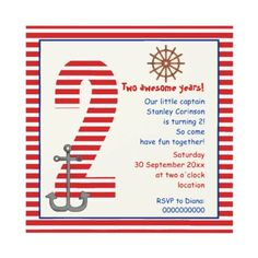 Nautical red, white sailboat 2nd birthday  party invitations by yourbirthday