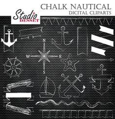 Nautical Chalk Clipart Summer Chalboard Clip Art by StudioDesset, $4.40