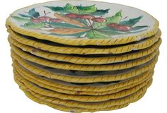 Italian Majolica Dinner Plates,Set of 10 on OneKingsLane.com 1960's Hand painted with fruit designs (lemons, oranges, plums, pears, etc.) and decorated with yellow fringes $195.00 - SOLD  Marked ITALY