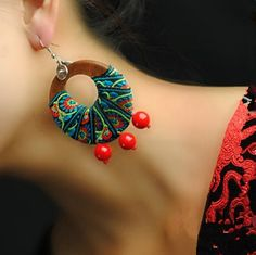 Beautiful Round Thai Mango Wood Hanging Red Coral Beads Colored Embroidery Fabric Pendulous Charming Earrings Ethnic Jewelry $6.43