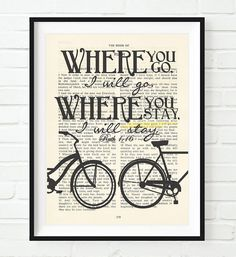 Where you go I'll go- Ruth 1:16 -Vintage Bible Highlighted Verse Scripture Page- Christian Wall ART PRINT