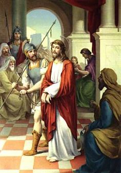 Stations of the Cross. First Station: Jesus is Condemned to Death. Jesus, you stand all alone before Pilate. Nobody speaks up for you. Nobody helps defend you. You devoted your entire life to helping others, listening to the smallest ones, caring for those who were ignored by others. They don't seem to remember that as they prepare to put you to death.