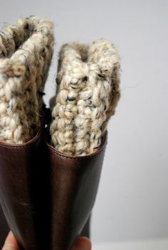 Super Chunky Boot Cuffs  Oatmeal Crocheted Cuffs by Mmim on Etsy, $18.00