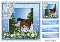 Horses in the snow with poinsettias 8x8 on Craftsuprint - View Now!