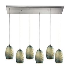 31620/6RC | Tidewaters 6 Light Pendant In Satin Nickel And Seafoam Glass - 31620/6RC