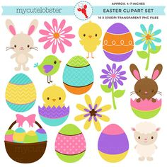 Easter Clipart Set - clip art set of eggs, Easter, chick, bunny, lamb, spring, basket - personal use, small commercial use, instant download