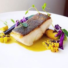 Crispy skin black cod (sablefish) on chat grilled curry corn broth, grilled curry rainbow carrots, pea sprouts, red cabbage. ✅ By - @gayleq ✅ #ChefsOfInstagram