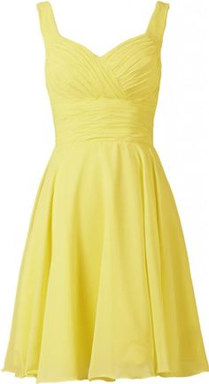 ANTS Women's V-neck Chiffon Bridesmaid Dresses Short Prom Gown Size 16 US Yellow