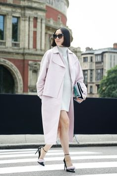 Eva Chen... just... perfect. Wearing an on-trend pastel coat and ankle-strap heels