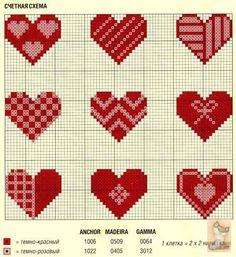 Cross-stitch Mini Hearts... punto croce - cuori | cross stitch - hearts