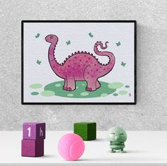diplodocus, pink dinosaur, art, drawing, nursery, cute, printable, toddler room, illustration #pinkdinosaur #diplodocus