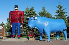 Paul Bunyan Statue - Bemidji, MN. As the mythical hero of lumberjack camps nationwide, many Paul Bunyan statues dot roadsides across the U.S. But there is one that stands out among the pack. The boxy Bunyan in Bemidji, Minnesota is rumored to be the first in the nation. The 18-ft.-tall, 2.5-ton shrine, erected in 1937, honors the mythic man who became a symbol of strength and vitality