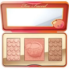 Too Faced Sweet Peach Glow palette ($36) ❤ liked on Polyvore featuring beauty products, makeup, cheek makeup, too faced cosmetics and palette makeup